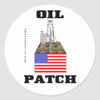US Oil Patch,Sticker,Decal,Oil,Gas,Gift,Oilman, Classic Round Sticker