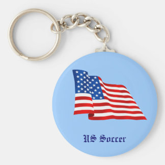 US old glory flag of the United States Basic Round Button Key Ring