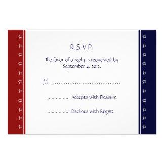 US Patriotic Military Invitation RSVP reply Card