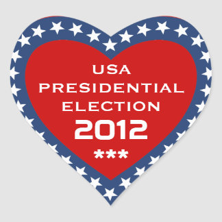 US Presidential Election 2012 Heart Sticker
