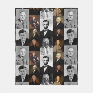 US Presidents Plus Hamilton and Franklin History Fleece Blanket