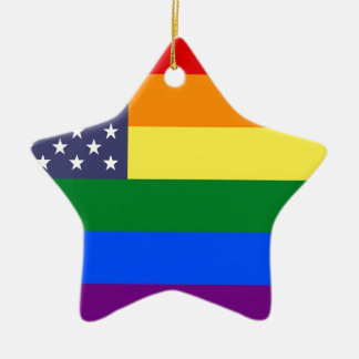 US Rainbow Pride Flag Ceramic Ornament