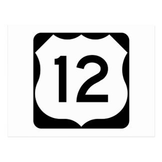 US Route 12 Sign Postcard
