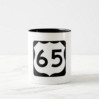US Route 65 Sign Two-Tone Coffee Mug