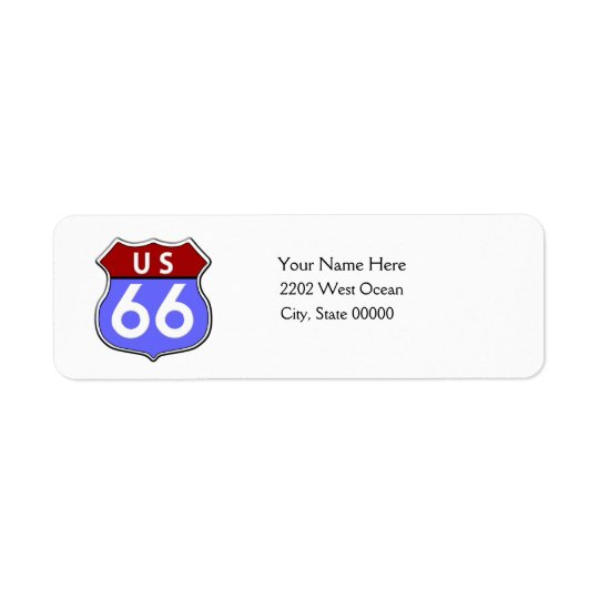 US Route 66 Legendary Return Address Label