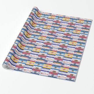US ROUTE 66 License Plates Wrapping Paper