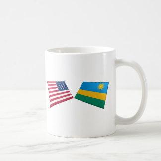 US & Rwanda Flags Coffee Mug