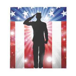 US Soldier Salute Patriotic Background Notepad