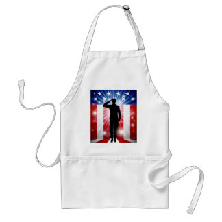 US Soldier Salute Patriotic Background Standard Apron