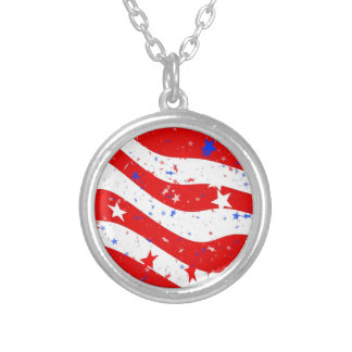 Us Stars And Stripes America Flag American Flag Silver Plated Necklace
