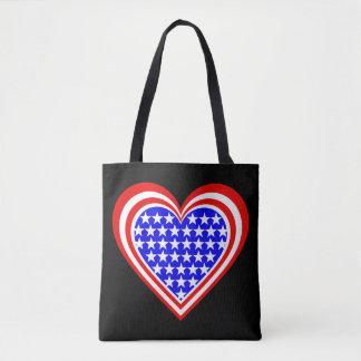 US/Stars & Stripes Heart flag-inspired Tote Bag