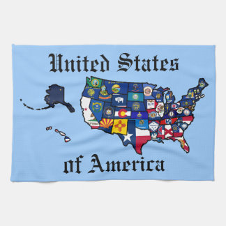 US State Flags Map Tea Towel