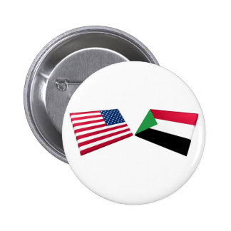 US Sudan Flags Pinback Buttons