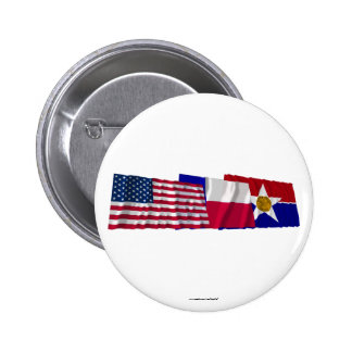 US Texas and Dallas Flags Pin
