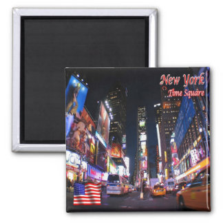 US U.S.A. - New York City - Time Square by Night Square Magnet