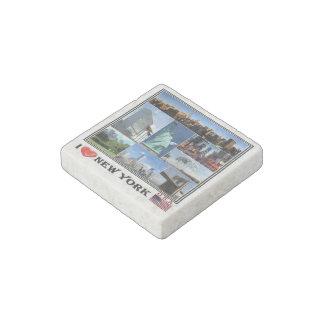 US  U.S.A. - New York - I Love - Mosaic - Stone Magnet