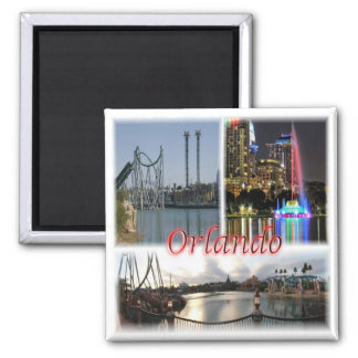 US * U.S.A. Orlando Florida Usa Square Magnet