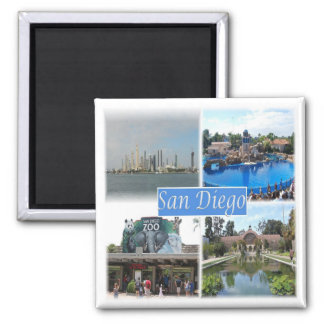 US * U.S.A. San Diego California Square Magnet