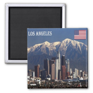 US - United States of America Los Angeles Panorama Square Magnet