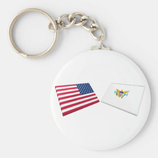 US & US Virgin Islands Flags Basic Round Button Key Ring