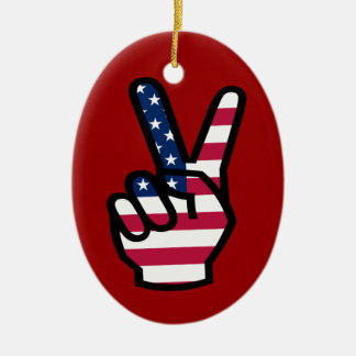 US Victory Sign Ceramic Oval Decoration