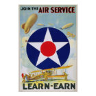 US Vintage Join The Air Service Learn-Earn Poster