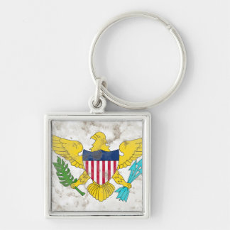 US Virgin Islands Silver-Colored Square Key Ring