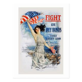 US War Bonds Fight Buy Third Liberty Loan WWI Postcard