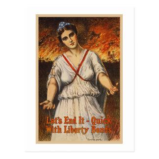 US War Bonds Let's End It Quick WWI Propaganda Postcard