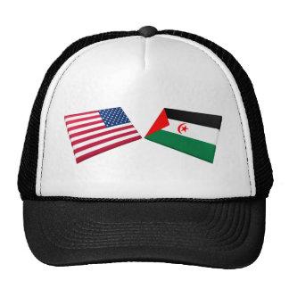 US & Western Sahara Flags Mesh Hat