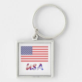 USA (3) Silver-Colored SQUARE KEY RING