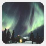 USA, Alaska, Chena Hot Springs. Aurora Square Sticker