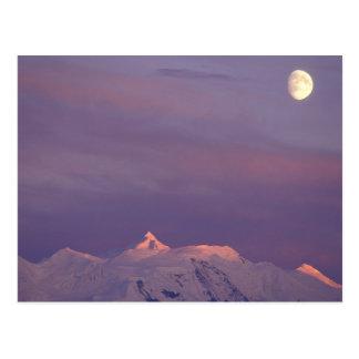 USA, Alaska, Denali NP. Moon over the Postcard