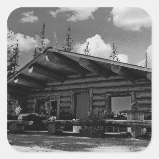 USA Alaska Modern alaskan log cabin 1970 Square Sticker