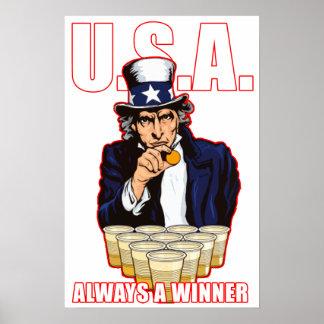 """USA: Always A Winner"" Beer Pong Poster"