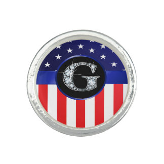 "USA Ameican Flag with G ""Faux"" Diamond"