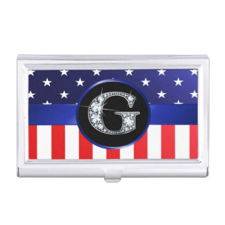 """USA Ameican Flag with G """"Faux"""" Diamond Business Card Holder"""