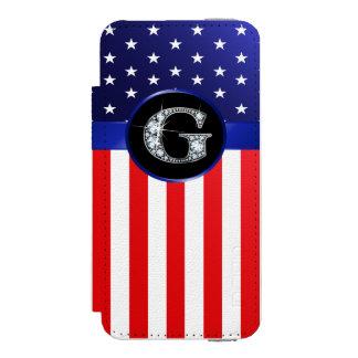 "USA Ameican Flag with G ""Faux"" Diamond Incipio Watson™ iPhone 5 Wallet Case"