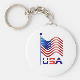 usa america basic round button key ring