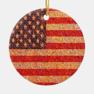 USA America Flag Rusty Old Texture Round Ceramic Decoration