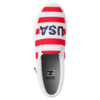 USA America Stars Red White Blue Flag Sneaker Printed Shoes