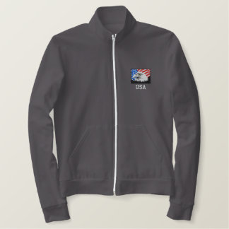 USA American Bald Eagle Fleece Track Jacket