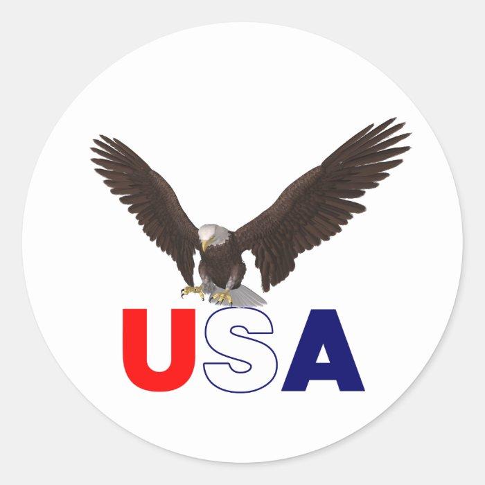 USA American Eagle Round Sticker