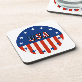 USA - American Flag and Stars in Circle Drink Coaster