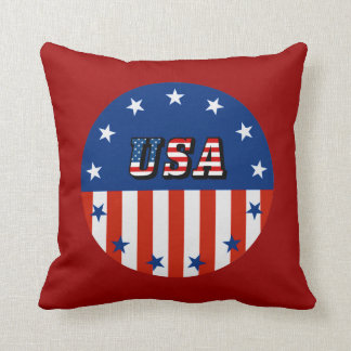 USA - American Flag and Stars in Circle Throw Pillows