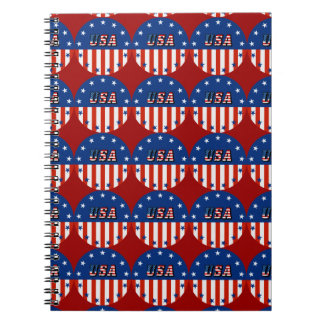 USA - American Flag and Stars in Circle Notebooks