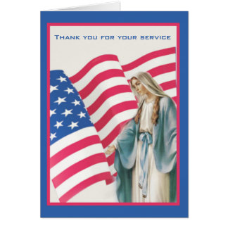 USA AMERICAN FLAG BLESSED VIRGIN MARY CARD