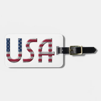 USA American Flag Colors Typography Luggage Tag
