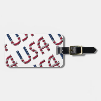 USA American Flag Colors Typography Pattern Luggage Tag