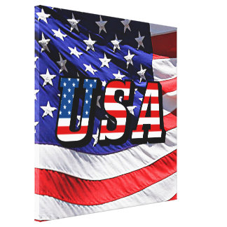 USA - American Flag Gallery Wrapped Canvas